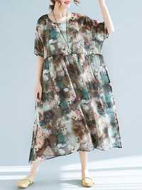 Plus Size Floral Print Batwing Sleeve Chiffon Dress