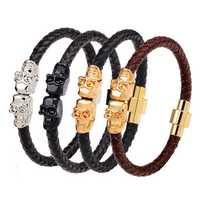 Punk Leather Magnetic Chain Skull Wristband Bracelet Gift for Men