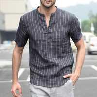 INCERUN Mens V Neck Vertical Striped Printing Summer Shirts