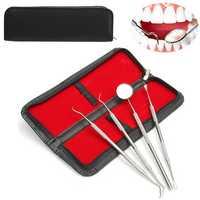 4Pcs Stainless Steel Dental Teeth Cleaning Kit Oral Clean Mirror Scraper Scaler Probe Waxing Carving