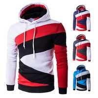 Mens Casual Fleece Spell Color Pullover Hoodies Long Sleeve Hooded Sweatshirt