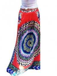 Ethnic Bohemian Printed Elastic High Waist Pocket Women Beach Maxi Skirt