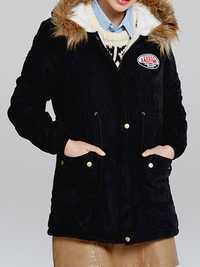 Women Thicken Pockets Drawstring Waist Fur Hooded Coats