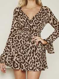Women Vintage V-neck Long Sleeve Leopard Print Party Dress