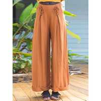 Women Casual High Waist Solid Color Wide Leg Pants