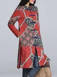 Folk Style Women Printing Split Hem Long Sleeve Coat