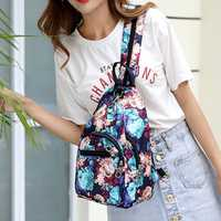 Women Nylon Multifunctional Large Capacity Print Floral Chest Bag Backpack