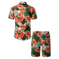 Mens Floral Printing Hawaiian Beach Suit Slim Holiday Set