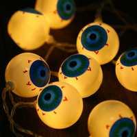 KCASA 1M 10 LED Halloween Eyeball Fairy String Lights for Christmas Party Home Decorative Lighting AA Battery
