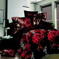4pcs Suit Polyester Fiber 3D Red Rose Black Bottom Reactive Dyeing Bedding Sets Queen King Size