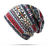 Women Cotton Ethnic Style Beanie Hat Warm Soft Dual Use Collars Scarf and Hat