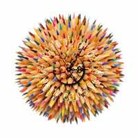 PAG STICKER 3D Wall Clock Decals Pencil Ball DIY Wall Sticker Colorful Home Wall Decor Gift