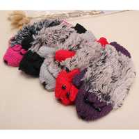 Women Girls Cute Hedgehog Mittens Fleece Cartoon Artificial Fur Gloves