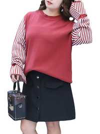 Plus Size Casual Women Stripe Sleeve Patchwork Sweater