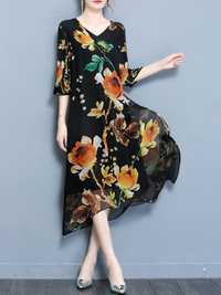 O-NEWE Elegant Women Printed V-Neck Chiffon Dress
