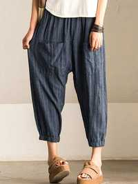 Women Retro Striped High Elastic Waist Harem Pant