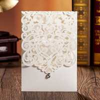 1 Pcs Laser Cut Hollow Out Diamond Wedding Evening Invitations Cards Personalized Envelopes Seals