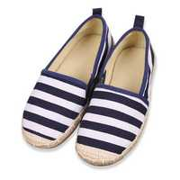 Kids Loafers Children Striped Canvas Sneakers Slip On Flats Boys Girls Shoes