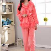 Comfy Flannel Thicken Long Sleeve Flounces V-neck Warm Sleepwear Sets For Women