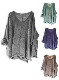 Irregular Solid Color V-neck Knitting Baggy Sweaters