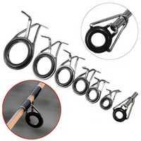 ZANLURE 7pcs Mixed Size Fishing Rod Rings Tip Fish Pole Repair Kit Line Guides Eyes Set