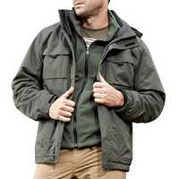 Mens Outdoor Military Waterproof Sport 2 in 1 Jacket Casual Multi Pockets Work Coat