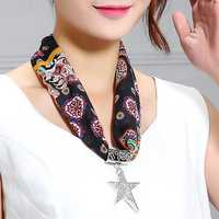 Sweet Scarf Necklace Tassel Star Pendant Necklace For Women