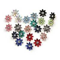 Sweet Women's Colorful Flower Rhinestones Crystal Earrings