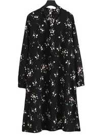 Vintage Women Floral Printed Chiffon Long Sleeve Dress