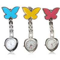 Butterfly Nurse Clip Heart Brooch Stainless Pocket Watch