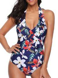 Printed One-Piece Halter Ladies Swimwear