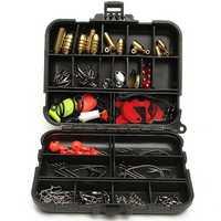 128pcs Fishing Lures Hooks Baits Black Tackle Box Full Storage Case Tool Set