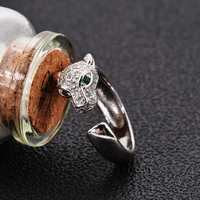 925 Silver Zircon Leopard Head Adjustable Opening Ring Gift