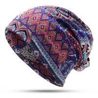 Women Vintage Muslim Ethnic Beanie Hats Earmuffs Skull Cap