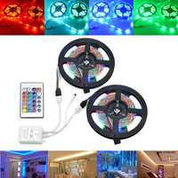 10M SMD2835 Non-Waterproof 600 LED RGB Strip Flexible Tape Light Kit + 24 Keys Controller DC12V