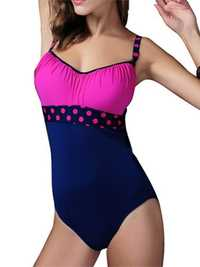 Women Backless Wire Free Polka Dot High Elastic Bodysuit One-Pieces Swimsuit