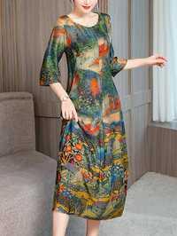 Women Vintage Art Print Round Neck Half Sleeve Dress