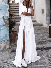 Pure Color V Neck High Split Hem Beach Long Maxi Dress