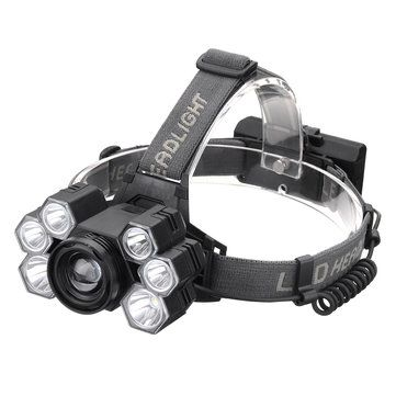 XANES 4101 7 With 2*18650 Battery 3500LM 3*T6+4*XPE LED Headlamp Mechanical Zoom USB Rechargeable
