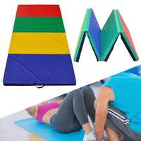 94x47x1.96 Inch 4 Folding Panel Gymnastics Mat Rainbow Colors Gym Exercise Running Fitness Yoga Pad