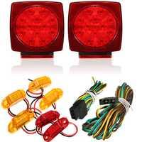 Truck Trailer Square LED Light kit Tail Stop Turn Brake Amber Side Marker Lamp