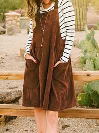 Women Sleeveless Straps Overalls Midi Solid Swing Dress