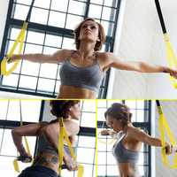 Set TRX Yoga Fitness Resistance Bands Hanging Belt Suspensio