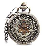 JIJIA JX016 Self-wind Mechanical Plum Blossom Roman Number Pocket Watch