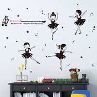 Kids Lovely Dancing Girls Wall Stickers Black Ballet Girls Room Decor Removable Wall Stickers