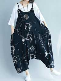 Casual Loose Art Print Black Spaghetti Strap Baggy Jumpsuit