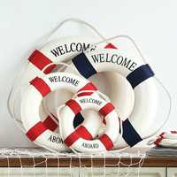 Mediterranean Style Welcome Aboard Decorative Life Buoy Home Decor