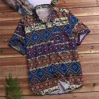 INCERUN Plus Size Loose Ethnic Style Mayan Printing Shirts