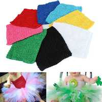 9 inch Children Girls Crochet Tube Top Elastic Waistband Head Hair Band DIY Girls Tutu Fluffy Skirt Wrap Chest