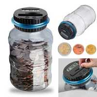 AUD EUR Pound Digital Coin Counting Money Saving Box Jar Bank LCD Display Coin Holder